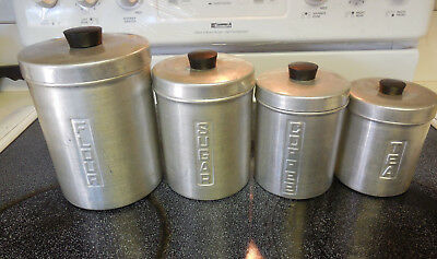 Vintage Nasco Metal Aluminum Canister Set of 4 w/Lids Italy Mid Century Modern