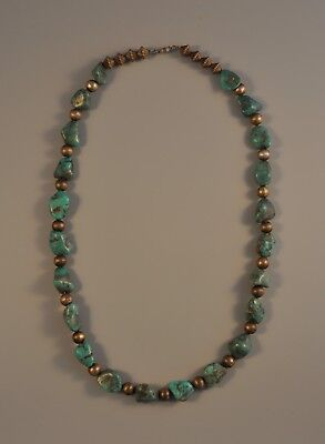 Vintage Navajo Indian Turquoise Nugget & Incised Bead Necklace - 25.5""