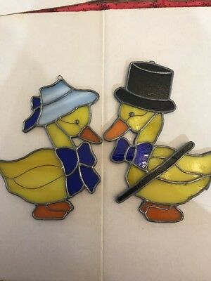 Stained Glass Duck Pair Leaded Vintage Set Of 2 Ducks Bow Tie Top Hat