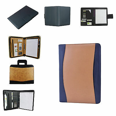 A4 Business Organizers Conference  Leather Blue Folder Zipped Folio Case Bag
