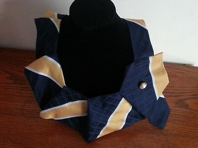 """Simply Striped Blue and Gold neck collar embellishment and gold/pearl button 10"""""""