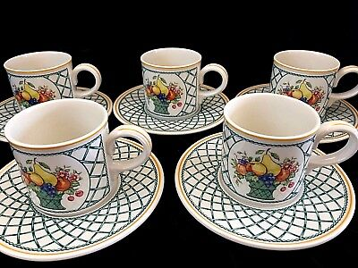 NEW Villeroy & Boch Basket Tea Coffee Cup & Saucer Stacking Fine China Cream