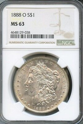 1888 O Morgan Silver Dollar NGC MS63 (038)