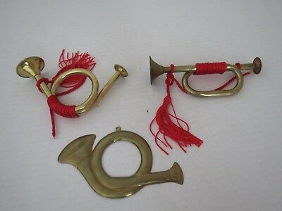 Two Vintage Solid Brass French Horns and one stamped