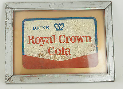 Royal Crown Cola Framed Decal on Glass in Rough Frame (BY2) RC Coke Soda