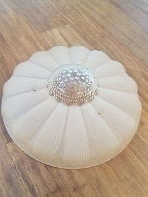 50's hobnail daisy glass ceiling light shade vintage antique