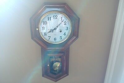 Vintage (31) Day Key Wind Up Chiming Half And Hour Regulator Clock With Org Key