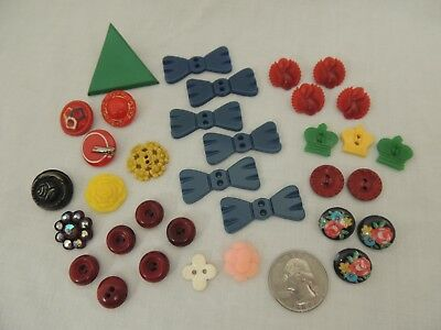 Vintage BUTTONS Whimsical LOT of 34 Incl. Bakelite & Old Plastic Lot #47