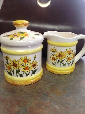 Vintage Sears, Roebuck And Co 1978 Ceramic Kitchen Set Sugar Bowl And Creamer