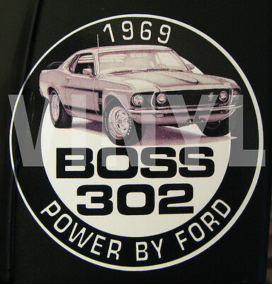 """Vintage 1969 Mustang Boss 302 Vinyl Sticker-Decal 4"""" - Power By Ford-Muscle Car"""