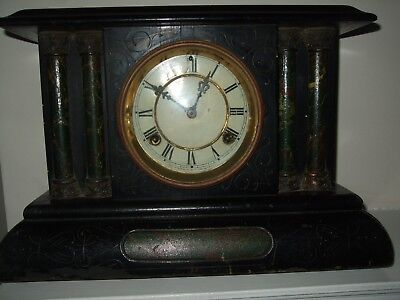 Nice Old Large American Waterbury  Black Mantel Clock For Restoration Or Parts.