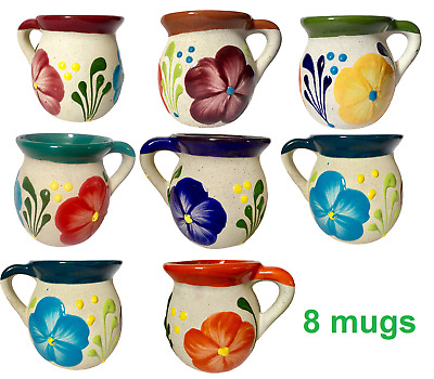 Mexican Mug Set Pottery Clay Jarrito 8 pk pack Traditional Cup Sand Finish