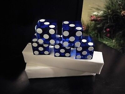 5 Pit Boss Signed Sealed Pack Las Vegas Casino Used Craps Table ROYAL BLUE DICE