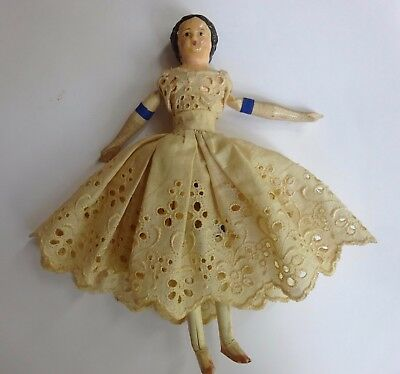 """Antique Milliner's Model Doll 6 -1/4"""" Wood and Paper Mache"""