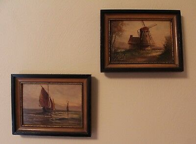 Pair Small Signed Framed Vintage Paintings Oil On Wood Ships & Dutch Windmill
