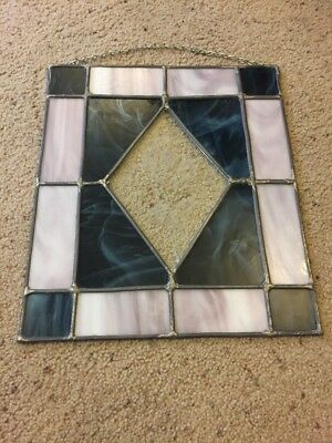 """Vintage Leaded Stained Glass Picture Window With Flowers In Center 14""""x 12"""""""