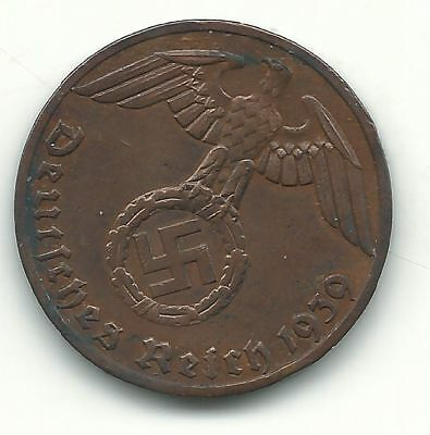 1939 NAZI copper penny .The real coin,no fakes. start of WWII invasion poland.