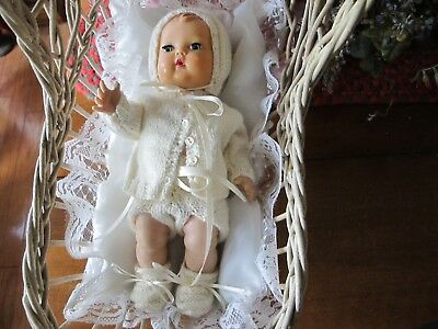 """No Doll-Cradle  Beautiful Knit By Me Layette Set For 11"""" Tiny Tears Betsy Wetsy"""