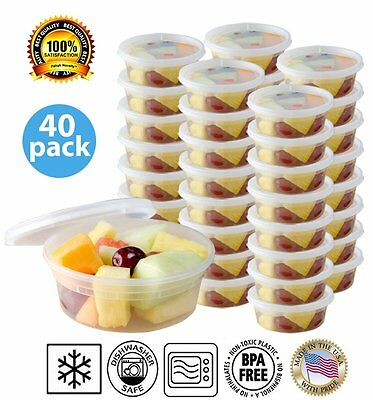 (40 Pack) Round Food Containers Leak Proof, Microwave, Dishwasher Safe 8 oz.