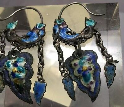 Pair Antique Silver & Enamel Antique Chinese Dragon Earrings