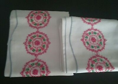 Vintage Pair Of Pillowcases White Embroidered pink flowers shabby chic farmhouse
