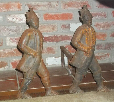 Rare Vintage American Revolution Hessian Soldiers Fireplace Andirons--Cast Iron