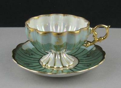 Vintage Japanese Fine Opalescent & Gilded Porcelain Scalloped Cup and Saucer