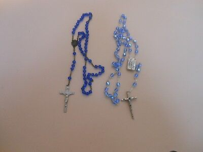 antique/vintage blue crystal glass beaded rosary lot....