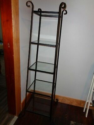 Vintage Black Wrought Iron 5 Shelf Display Ornate Glass Shelves Plant Stand