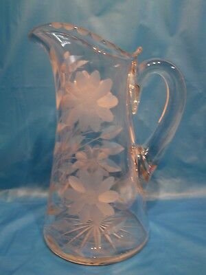 Antique Vintage Floral Daisy Etched Glass Crystal Iced Tea Water Pitcher