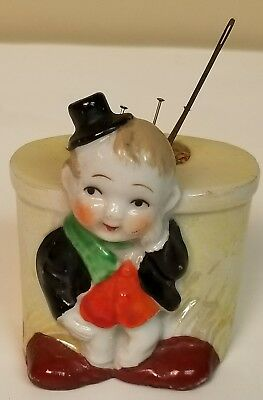 Vintage Porcelain Sewing Pin Cushion Little Boy with Top Hat Made in Japan