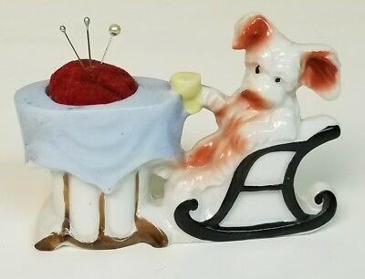 Vintage Porcelain Sewing Pin Cushion Little Dog in Chair at Table Made in Japan