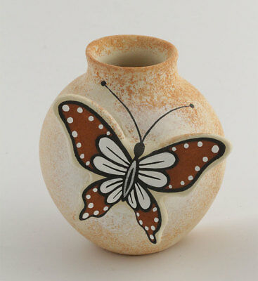 Navajo Native American Hand Painted Butterfly Small Pot Vase Pottery