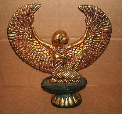 "Ancient Egyptian Style Winged Isis Goddess 13"" Tall Large Statue Mythology Decor"