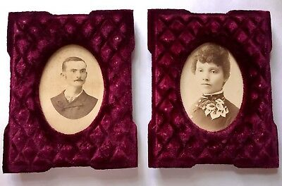 Antique Victorian Old Velvet Frames (2) with Vintage Photographs 1800's
