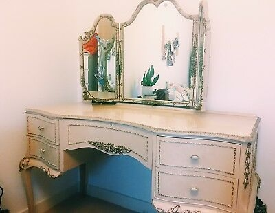 Antique Dressing Table Beige And Gold