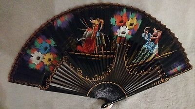 Vintage Hand Painted Folding Hand Fan Bull Fighter Spanish Couple Dancing Black