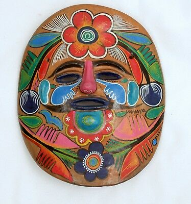 Vintage Clay Mask Hand Painted Mexico Folk Art