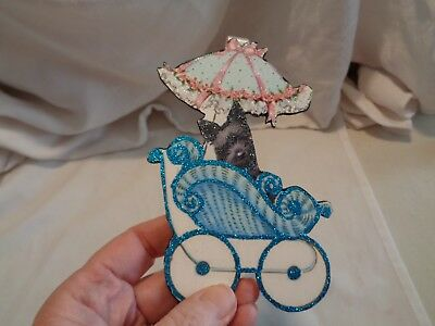 wooden ornament scottie dog in pram GREAT GIFT NEW PUPPY handcrafted stored away