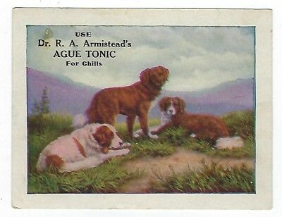 Dr. Armistead's Ague Tonic late 1800's medicine trade card - Carmi, IL - dogs