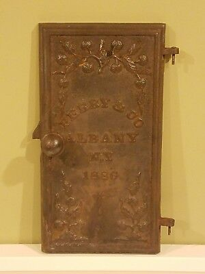 Antique Cast Iron Ornate Wood Stove Door Perry & CO Albany NY 1886 New York