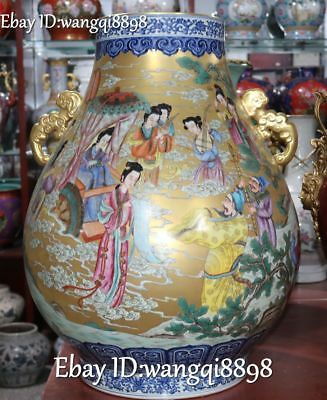 "27"" Enamel Color Porcelain Gold Gilt Mazu Wangmu Queen Bottle Vase Crock Jug Jar"