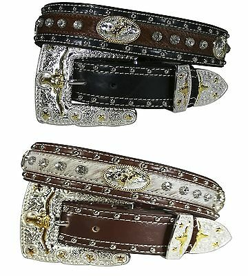 Mens Womens Western Cowboy Cowgirl Gold Longhorn Rodeo Calf hair Leather Belt