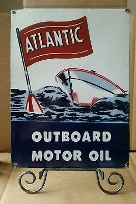 Atlantic Outboard Motor Oil Porcelain Sign Pump Plate Gas Oil