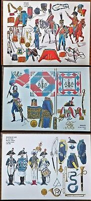 Militaria documents 3 planches Bonaparte, Infanterie de ligne musiciens,hussards