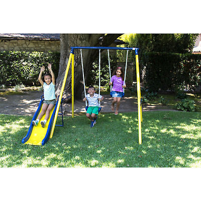 Metal Swing Set Play Time Children Fun Swing Outdoor Kids Backyard Slide  Playset