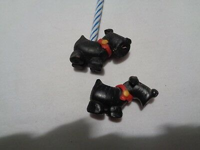 two tiny scottie dog birthday candle holders craft item -not vintage FIMO?