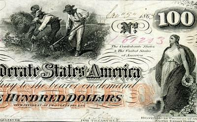 HGR SATURDAY 1863 $100 Confederate ((Slaves/Cotton)) Appears CHOICE UNCIRCULATED