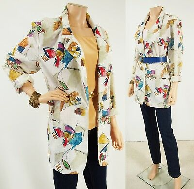Vtg 80s REFLECTIONS Abstract Print Linen-Like Boyfriend Blazer Jacket 16T L-Tall