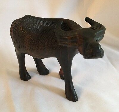Vintage Wood Carved Statue Of WATER BUFFALO OX Marked Cebu City Philippines
